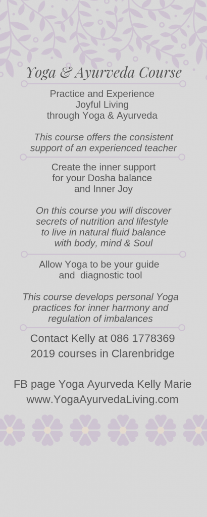 Infograph for Yoga and Ayurveda course with Kelly Marie Mills