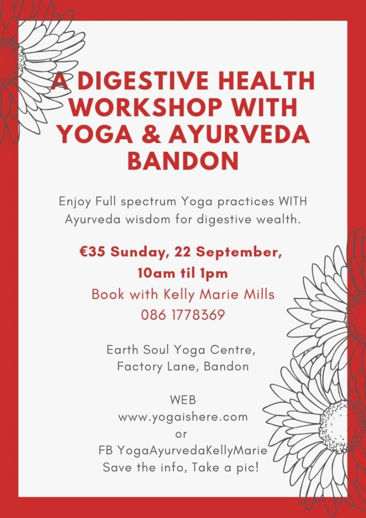 A poster for a Yoga and Ayurveda workshop in bandon